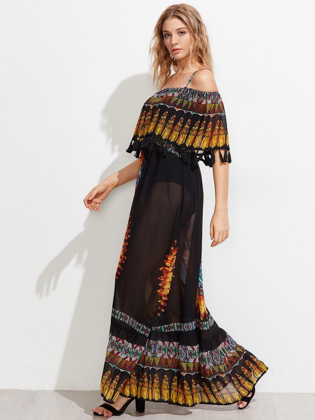 robe d coup e tages en tulle avec des franges french romwe. Black Bedroom Furniture Sets. Home Design Ideas