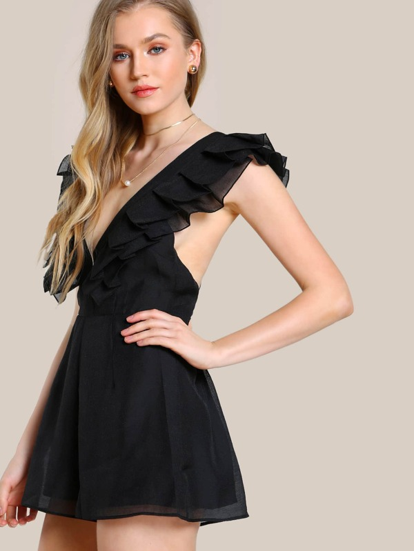 4867c3a852a Pleated Deep V Romper BLACK -SHEIN(SHEINSIDE)