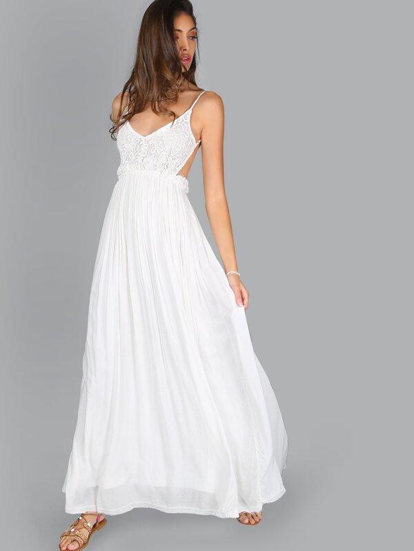 f6109719090 robe longue dos nu dentelle plissée