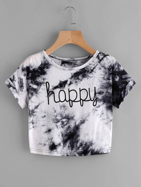 Water Color Letter Print Tee -SheIn(Sheinside)