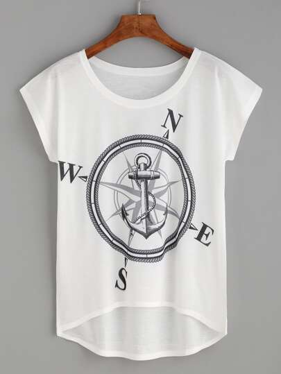 Anchor Print High Low T-shirt