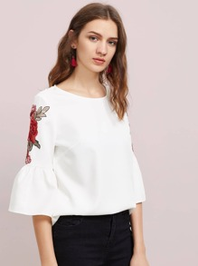 Embroidered Flower Patch Trumpet Sleeve Top