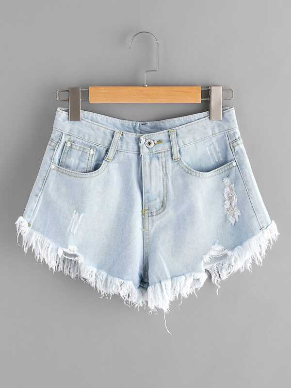 337966aac0 Bleach Wash Ripped Frayed Hem Denim Shorts | SHEIN