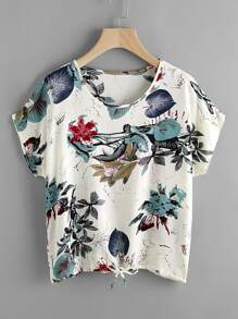 Drawstring Hem Leaf Print Top