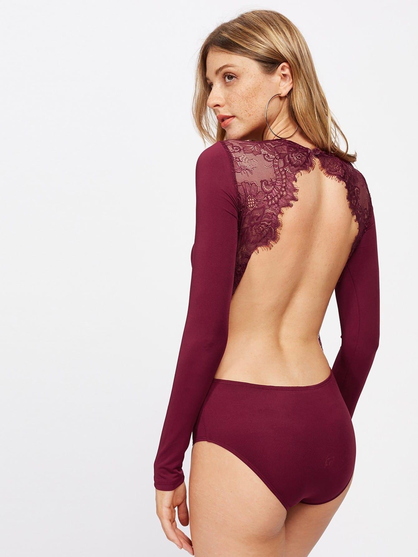 cee4da41a96 Backless Lace Applique Bodysuit EmmaCloth-Women Fast Fashion Online
