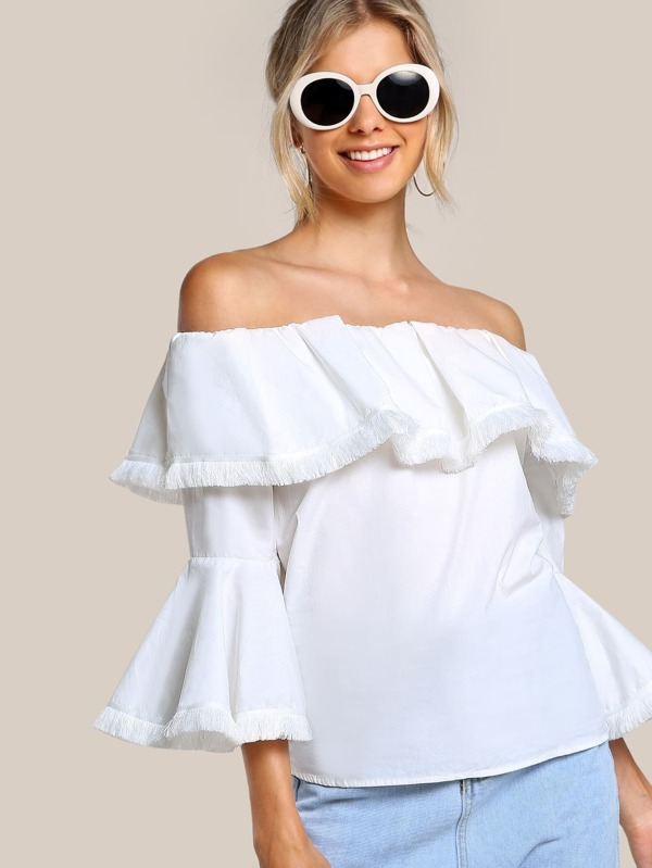 b9957f1e0e Off Shoulder Flounce Trumpet Sleeve Shirt WHITE | SHEIN
