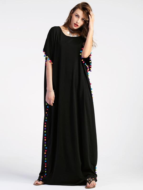Pom Pom Trim Full Length Kaftan Dress Sheinsheinside