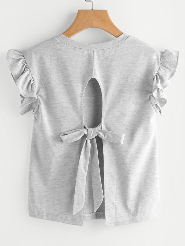 8ae4e3c8 Ruffle Sleeve Self Tie Open Back Tee | SHEIN UK