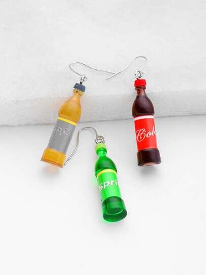 Coke Bottle Shaped Drop Earrings 3pcs