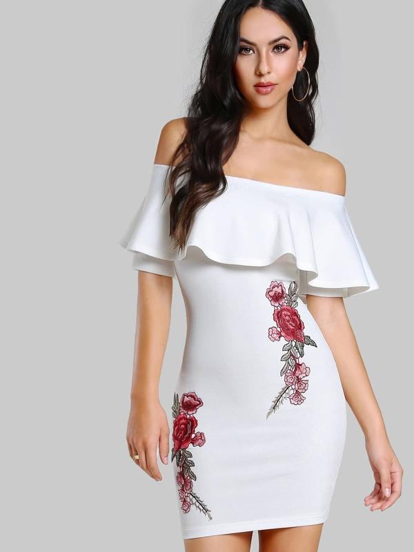 29368e1270 Embroidered Flower Patch Flounce Bardot Dress   SHEIN