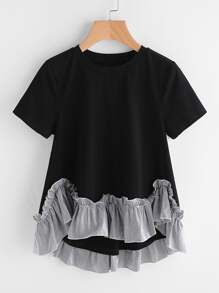 Striped Ruffle Trim Hi Lo A Line T-shirt