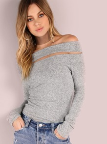 Brushed Off The Shoulder Sleeved Top HEATHER GREY
