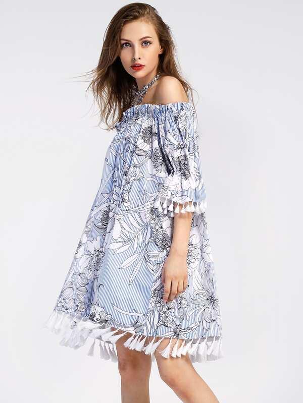 303e65e5beb Bardot Frill Cuff Tassel Trim Vertical Striped Dress