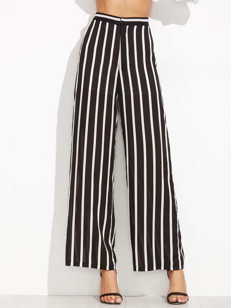 55c02cf8498 Pantalones rayas verticales ancho - negro | ROMWE
