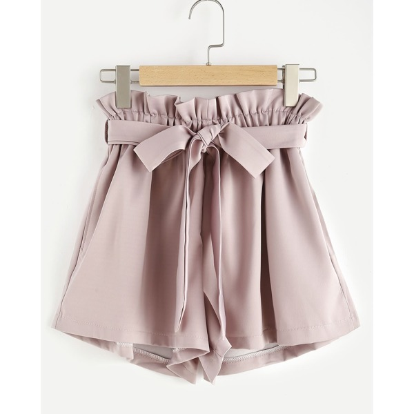 Paperbag Waist Self Tie Shorts, Dusty pink