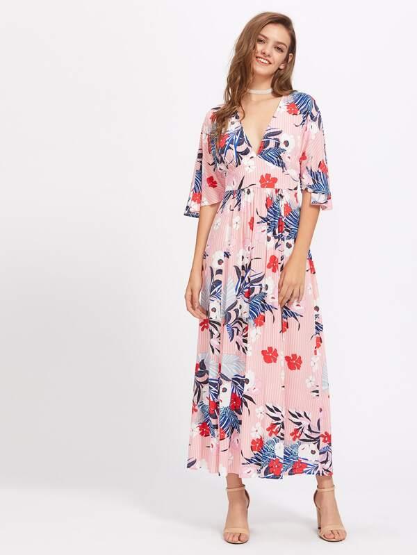 90ae27406763 Cheap Mixed Print Split Back Empire Waist Dress for sale Australia | SHEIN