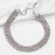 - Rhinestone Embellished Chain Choker