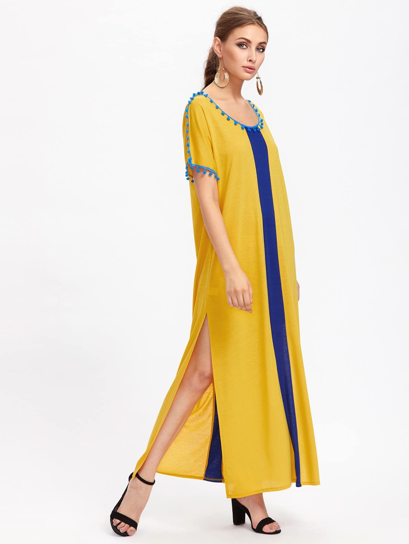 a51ddbddf7e Contrast Panel Slit Side Pom Pom Trim Dress EmmaCloth-Women ...