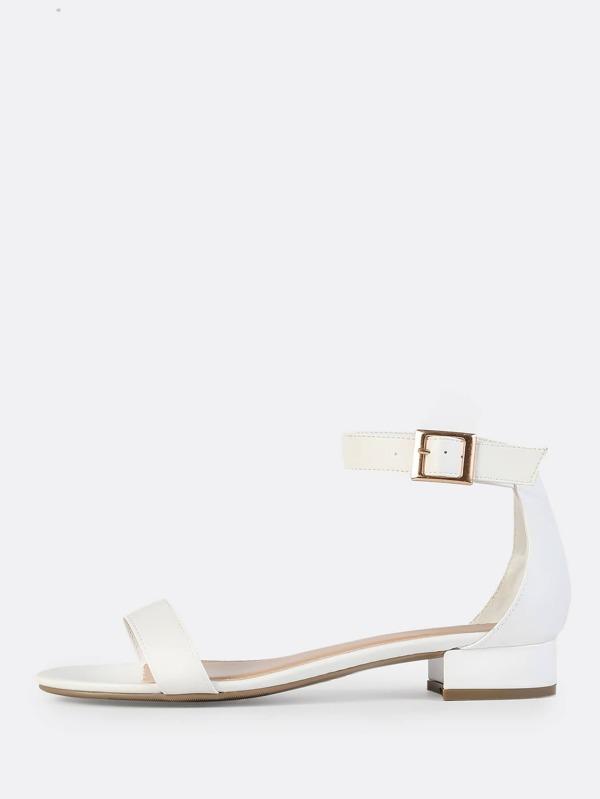 a761cc25a30 Faux Leather Kitten Heels WHITE