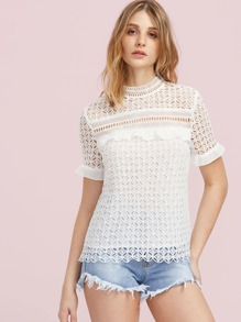 Ruffle Cuff Hollow Out Geo Lace Top