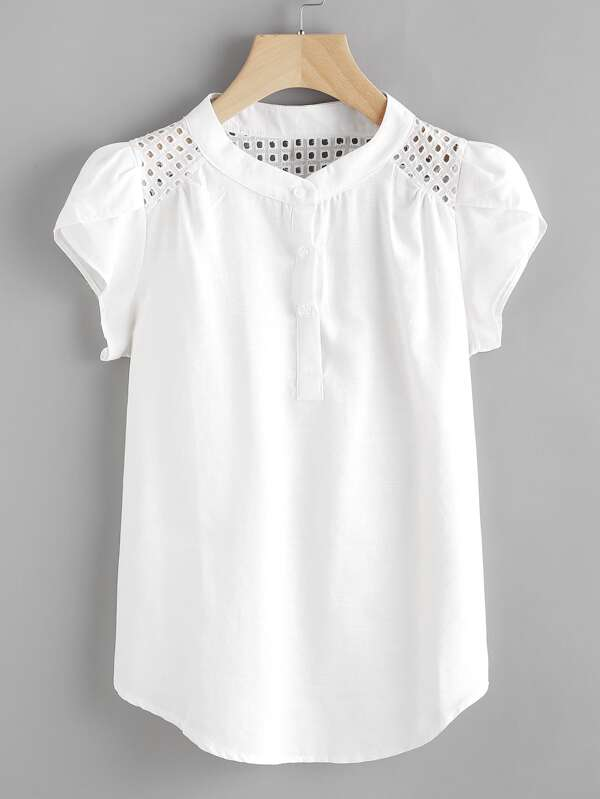 Eyelet Embroidered Panel Petal Sleeve Blouse -SheIn(Sheinside) 0e743074cf2cc