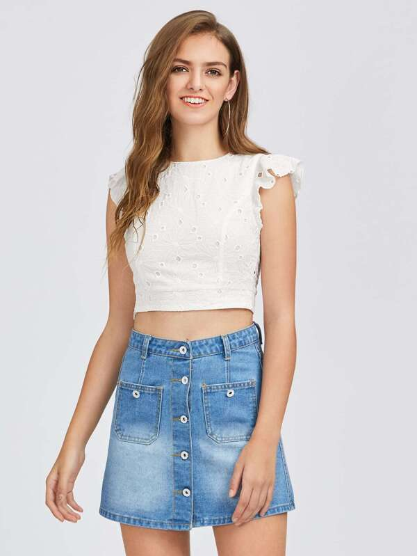 4eb4c709e9631 Crisscross Tie Back Eyelet Embroidered Top