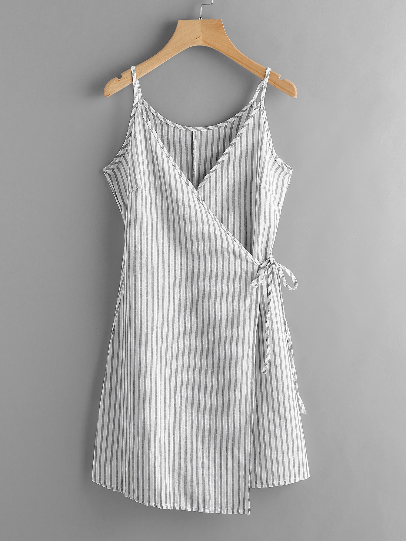 thin striped wrap dress