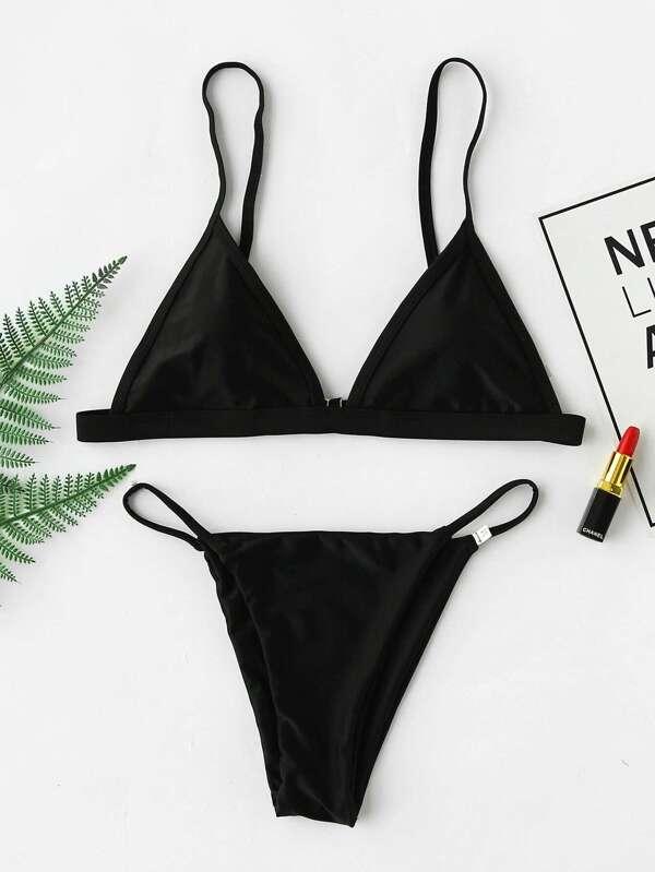 e9423cf9f9 Adjustable Strap Triangle Top With Tanga Bikini | SHEIN