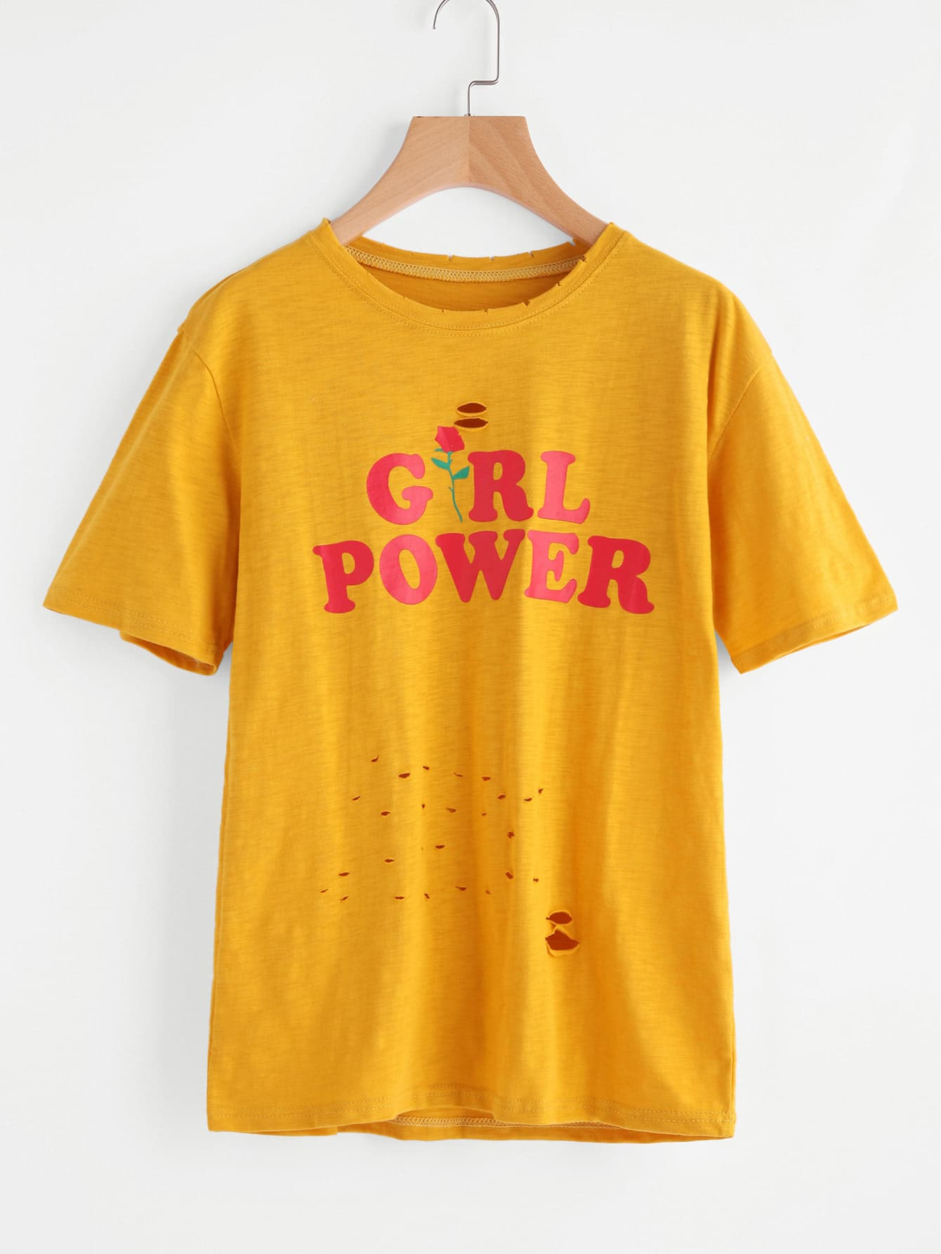 yellow t shirt with girl power text in red