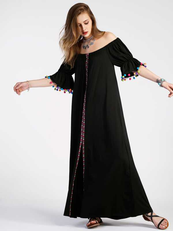 Schlitz Kleid mit Stickereien und Pompons - German SheIn(Sheinside)