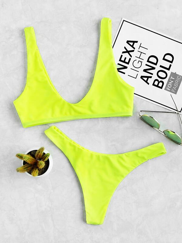 6ed1a1e69c Neon Lime Top With High Leg Bikini | SHEIN