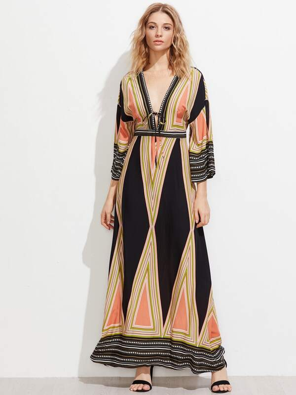Plunge Neck Split Back Kimono Dress -SheIn(Sheinside)