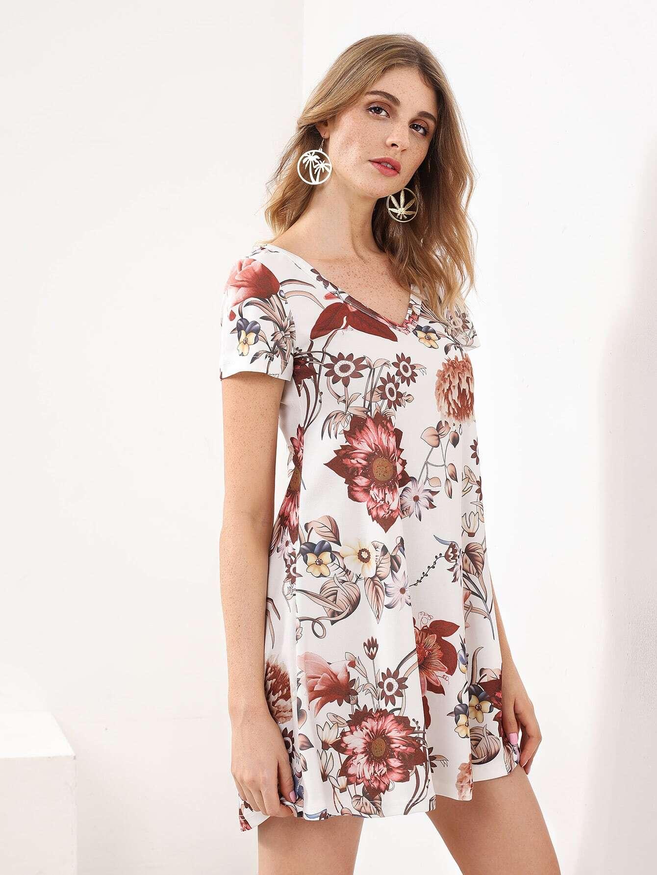 Kleid mit blumenmuster und plissee german shein sheinside - Plissee kleid lang ...