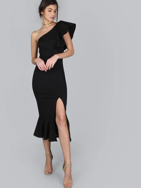1a16b40c5b One Shoulder Slit Pep Hem Dress | SHEIN