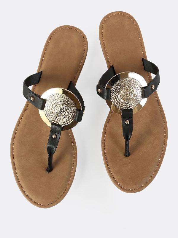 3128d3853dad0 Gold Disc Thong Sandals BLACK -SHEIN(SHEINSIDE)