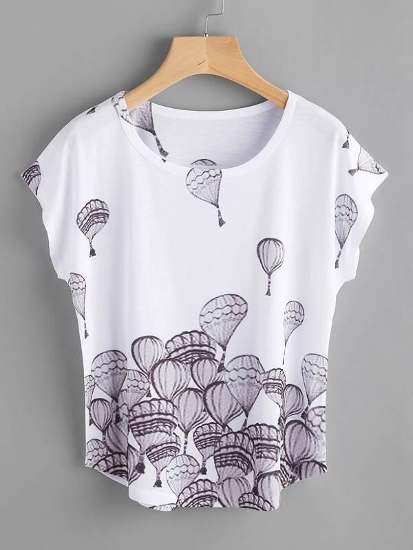 5f857a7ca2776 Tee-shirt manche chauve-souris imprimé de la montgolfière | SHEIN