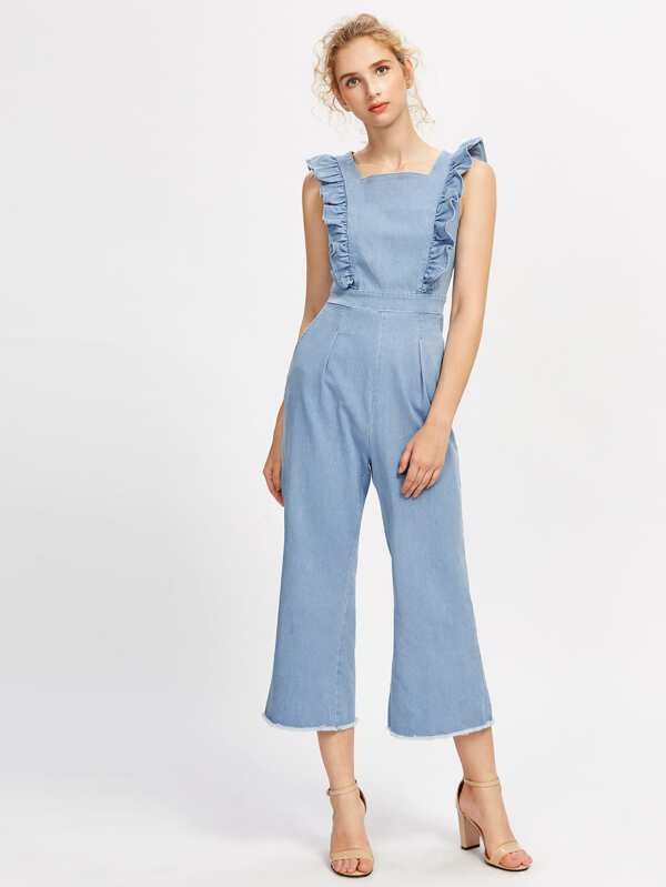 0e73317324e7 Cheap Frill Detail Frayed Hem Chambray Pinafore Jumpsuit for sale ...