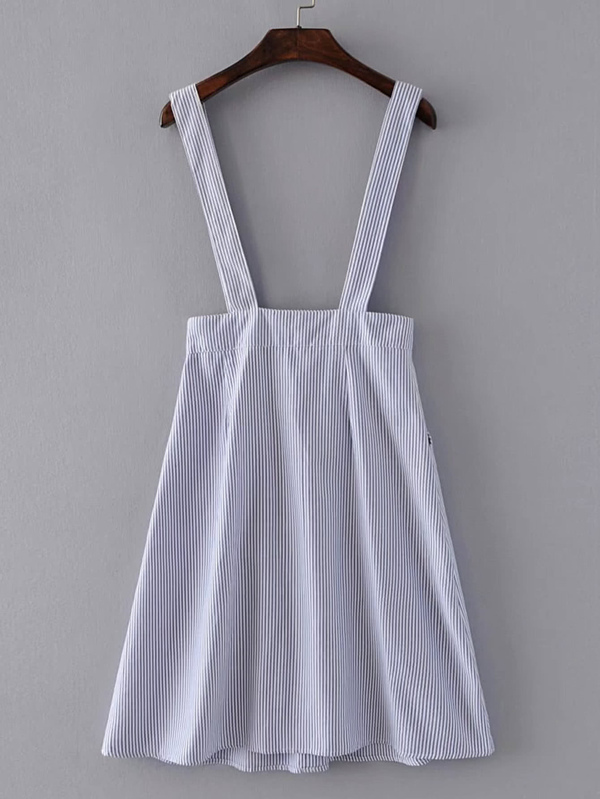 c09f5c4896 Pinstripe Overall Dress With Buttons