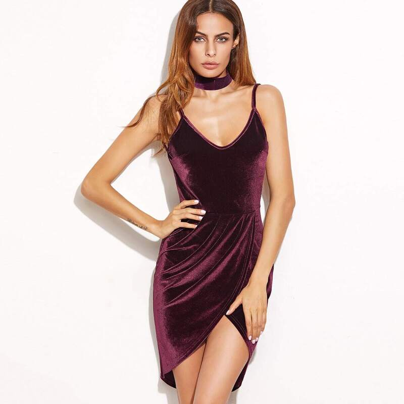Backless Ruched Velvet Wrap Cami Dress, Burgundy