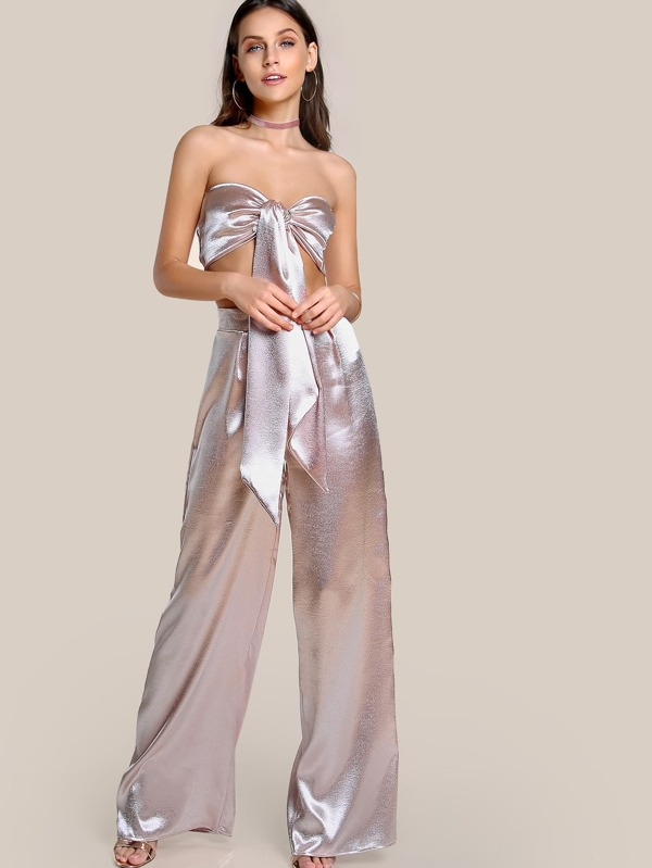 059e81e1bd Satin Self Tie Crop Top & Matching Pant Set BLUSH | SHEIN