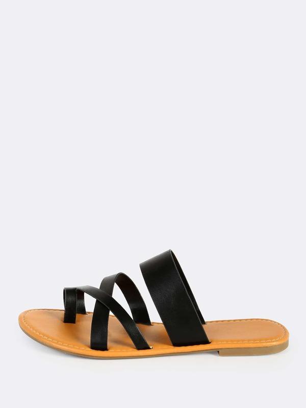c86ef73e3 Faux Leather Toe Ring Sandals BLACK