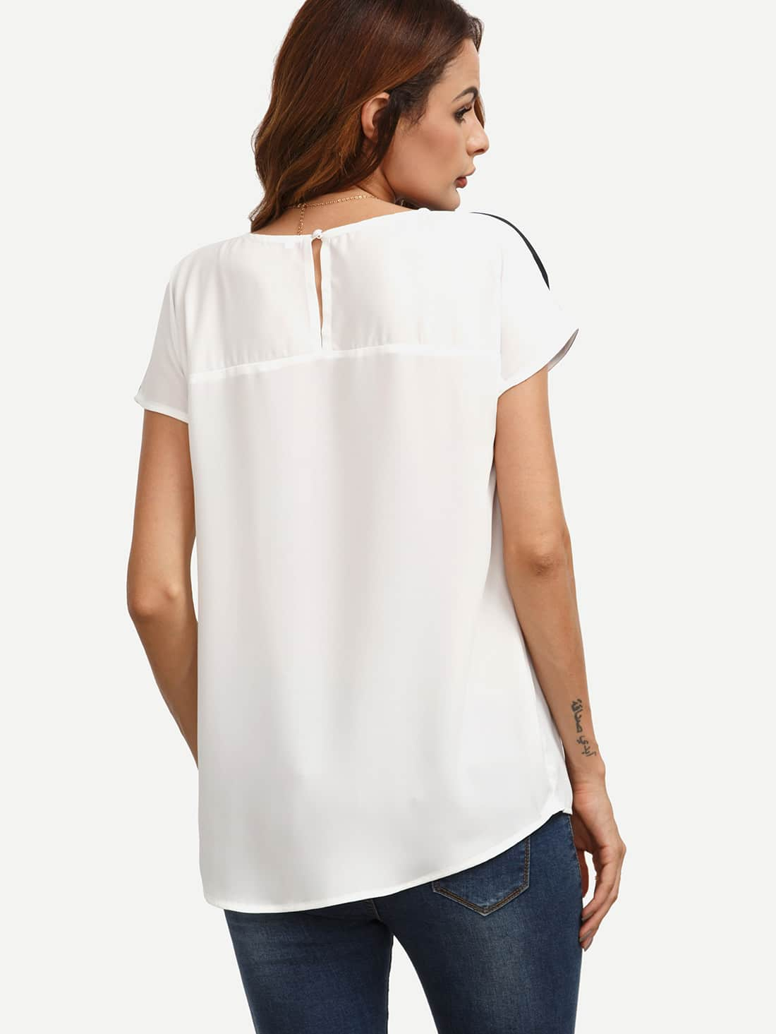 eefe3b6394 Button Keyhole Cut And Sew Top | SHEIN