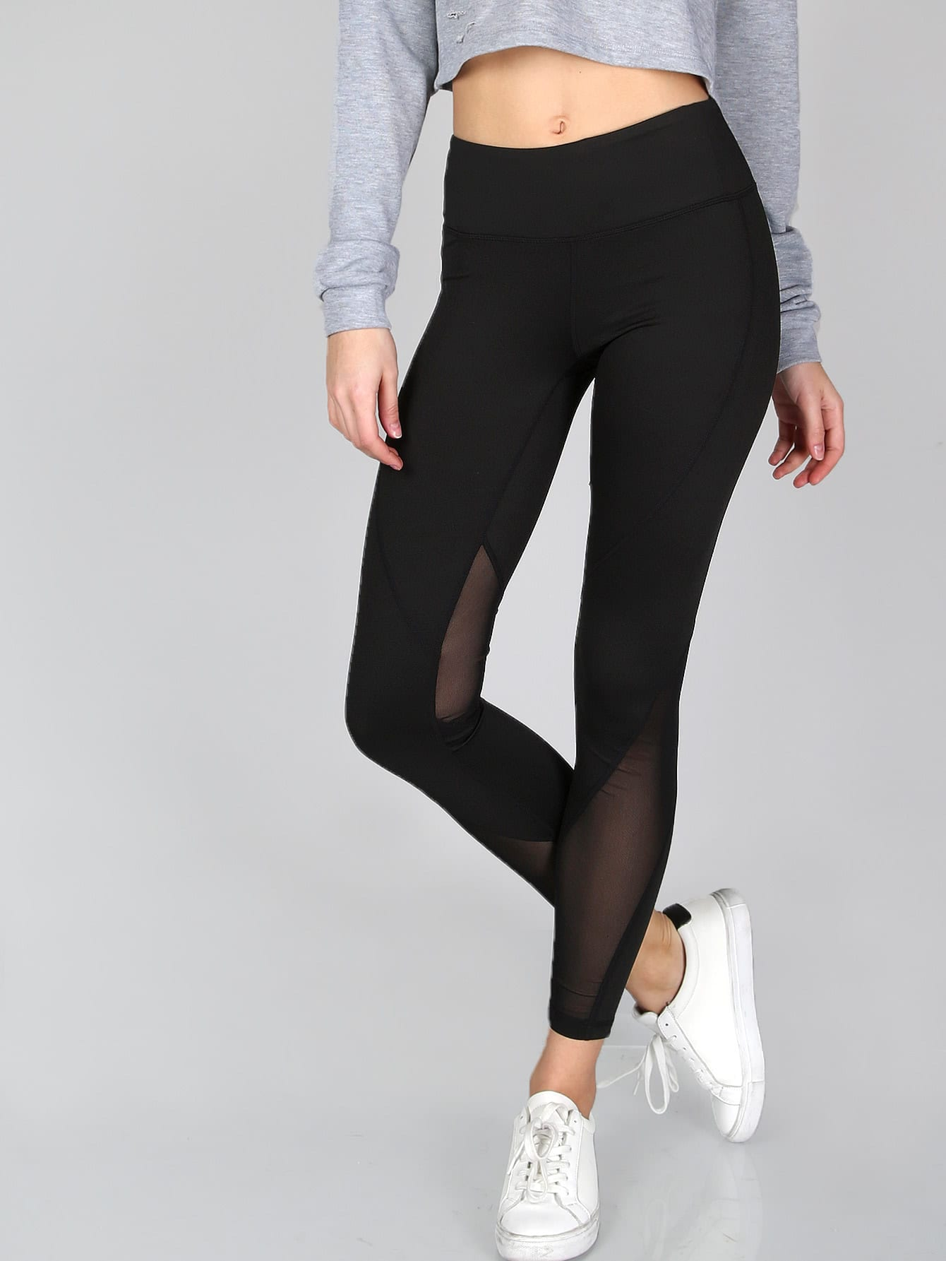 ef2b5c9e1797f9 Thick Sheer Mesh Panel Leggings | ROMWE