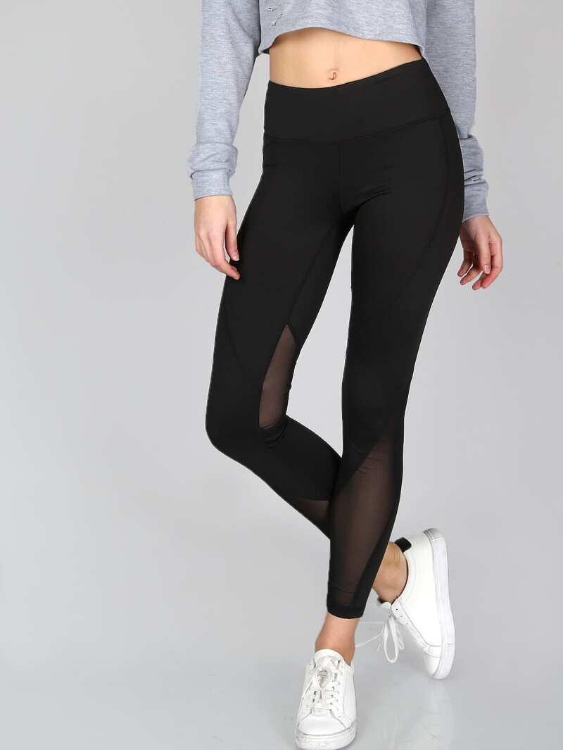 1cf3bd307 Leggings grueso de malla transparente - negro   ROMWE