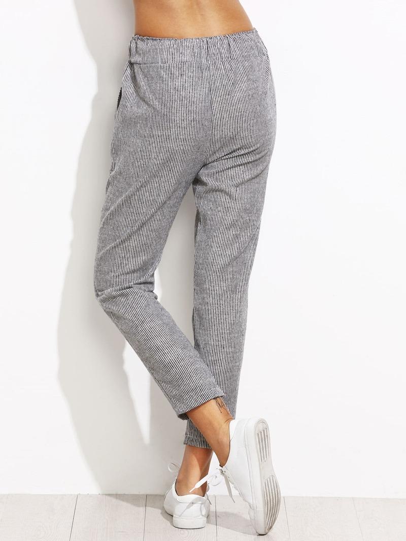 Verticales Taille Pantalons Rayures Gris À Coulissée RjLqc54A3