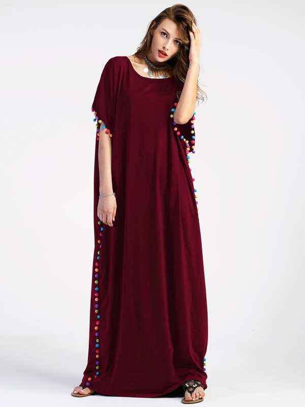 Robe caftan longue découpée avec des pompons  a1ad4b0a001