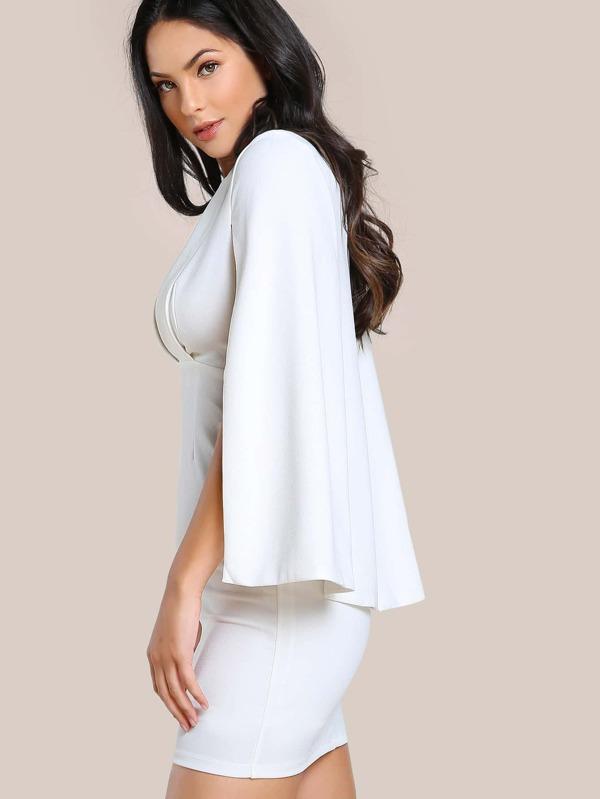 dd66b9700e Shawl Collar Plunging Cape Dress