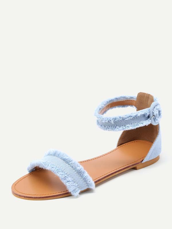 af1c0f83603 Raw Trim Denim Flat Sandals -SheIn(Sheinside)