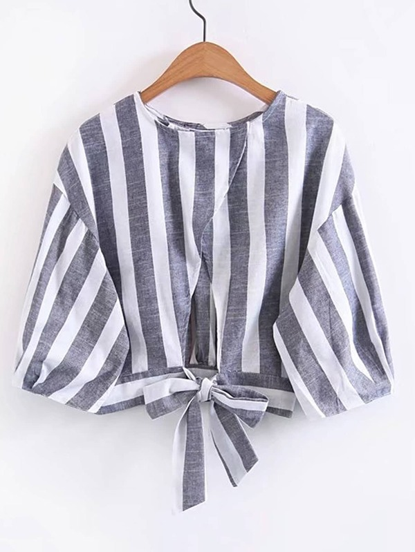 324bf47756354f Vertical Striped Bow Tie Back Top | SHEIN UK