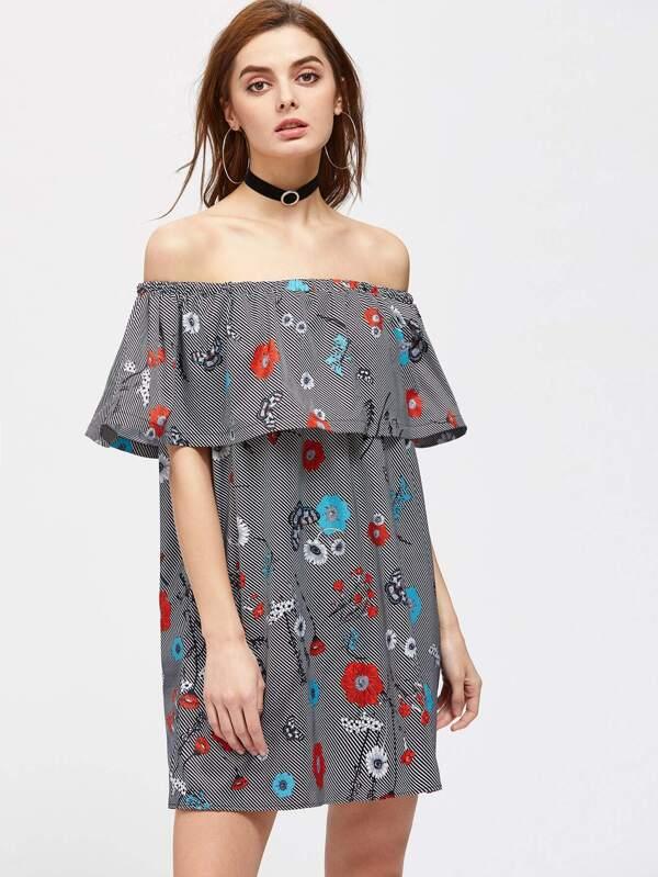 Robe imprimée des fleurs et des rayures à volants-French SheIn(Sheinside) d42eb547ee92